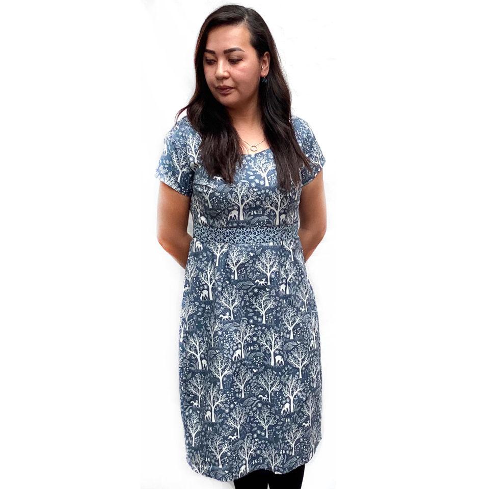1. Forest creatures blue contrast dress