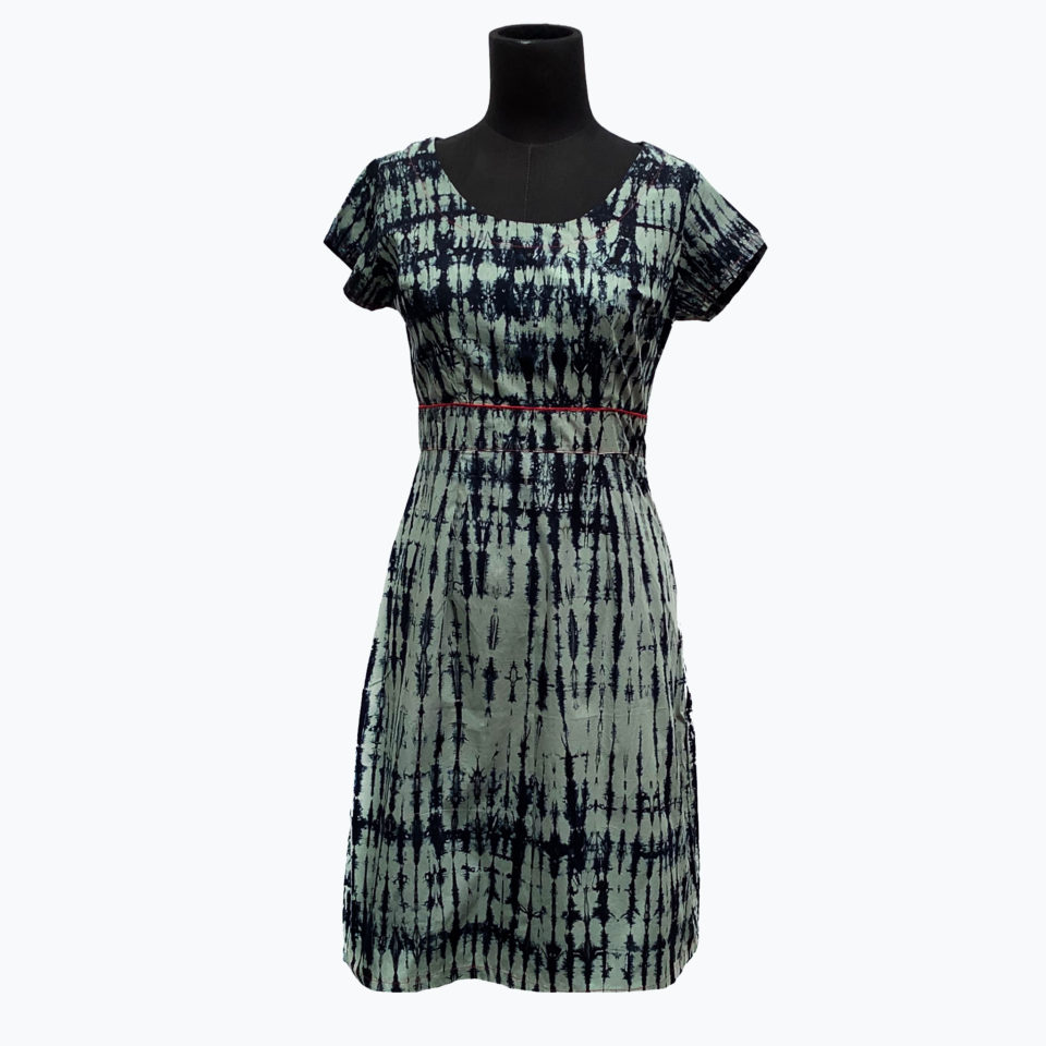 2. blue batik japanese print contrast dress