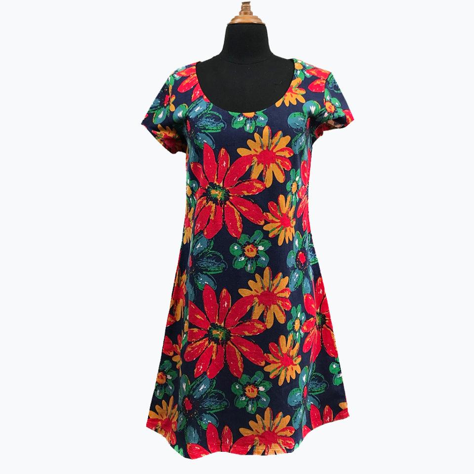 big flower dress linen